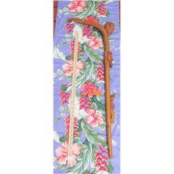 Carved Hardwood Walking Stick/Cane w/Carved Figures