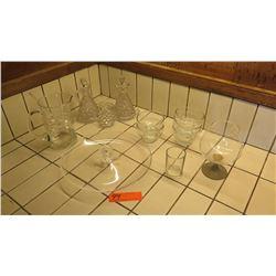 Misc. Glassware: Platter, Pitcher, Small Bowls, Snifter, Oil/Vinegar Cruet