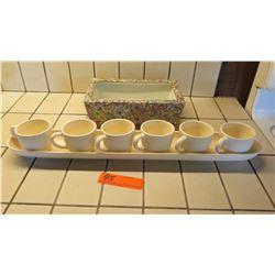 Painted Rectangular Porcelain Tray, Espresso Set
