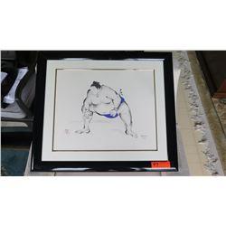 "Framed Signed ""Sumo Wrestler"" Watercolor, Ltd. Ed. 5 of 100, Original Signature, 26.5"" X 23"""