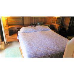 Custom Koa Bed & Headboard w/Electronic Adjustable Bed & Remote, King Size