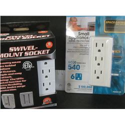 New lot of 2 wall mount surge protectors / 6 way with swivel/ 6 way side