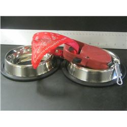 2 new Stainless steel non skid food dishes / 1 Bandana Collar / 1 Retractible