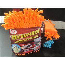 3 New Microfiber Chenille sponges / 90,000 fibers per sq inch absorbs 8 x