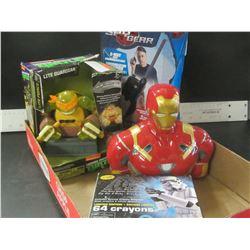Flat of Boys toys / spy gear walkie talkies / 64 Star Wars Crayons / Iron Man