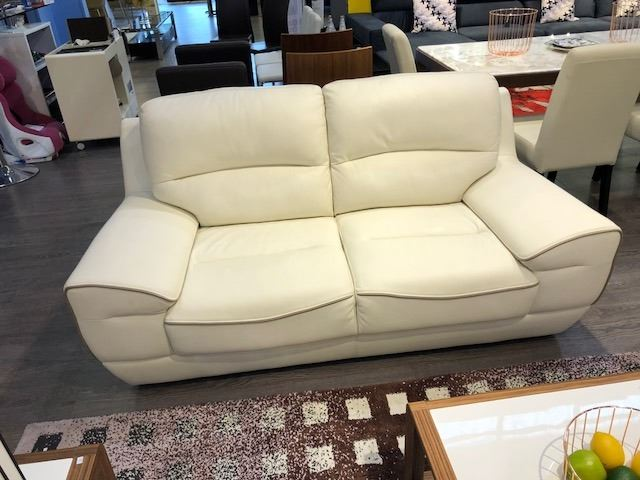 Fabulous White Leather Sofa And Loveseat Set With 2 Dark Green Machost Co Dining Chair Design Ideas Machostcouk