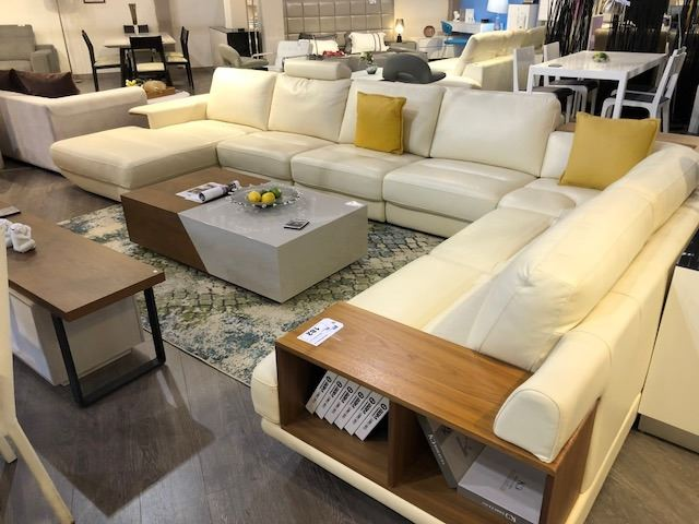 very large u-shaped tan leather with teak accent sectional sofa ...