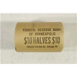 $10 ROLL OF 90% SILVER 1964 JOHN F. KENNEDY HALVES