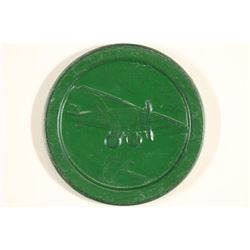 VINTAGE POKER CHIP DARK GREEN WITH EMBOSSED