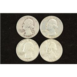1944,54,61 & 64 WASHINGTON SILVER QUARTERS