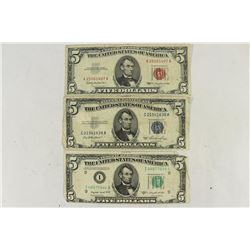 TYPE SET OF US $5 BILLS 1950-C FRN GREEN SEAL,