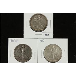 1943-S,45-D & 47 WALKING LIBERTY HALF DOLLARS