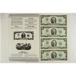 1976 US $2 FRN STAR NOTES UNCUT SHEET CRISP UNC