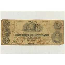 1862 NEW YORK COUNTY BANK $2 OBSOLETE BANK NOTE