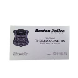 Patriots Day Tommy (Mark Wahlberg) Business Card Movie Props