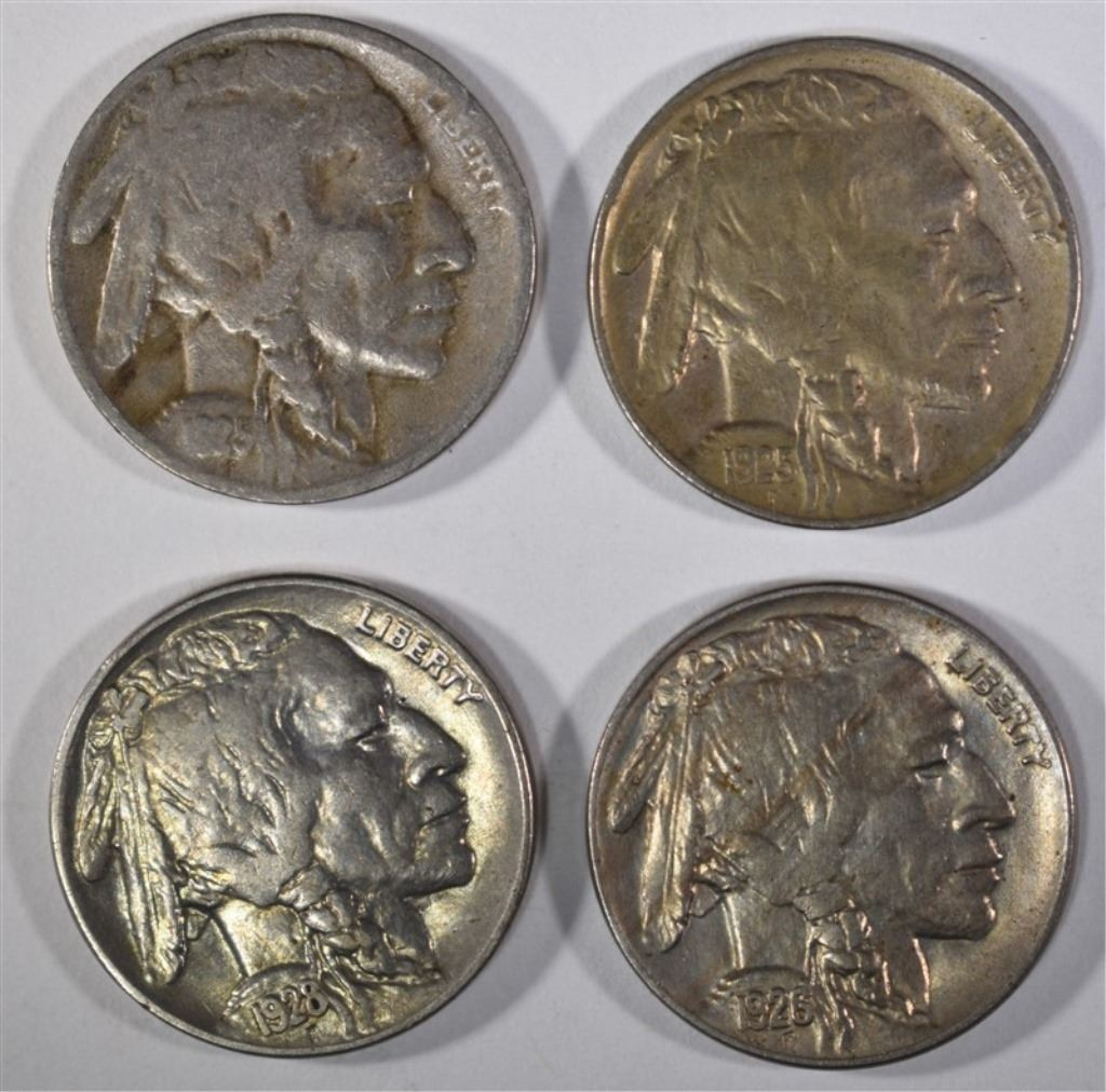 4 BUFFALO NICKELS: 1928 XF-AU, 1925-D FINE,