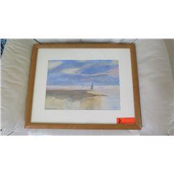 """Framed Original Watercolor, Artist Ruthe Berry, 21.5"""" X 17.5"""