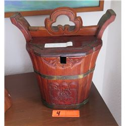 """Antique Chinese Wooden Bucket, Circa 1890s, Approx. 12"""" H"""