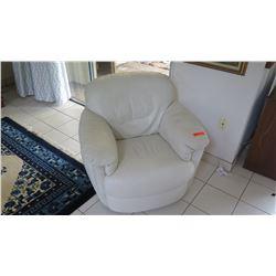 Plush White Leather Arm Chair Rocker
