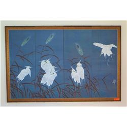 4-Panel Signed Japanese Silk, Cranes, 4' X 6'