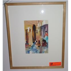 """Framed Watercolor, Artist Whitlock, Signed, 15.5"""" X 18"""""""