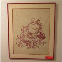 "Framed Art - Smiling Budda, 20"" X 24"""