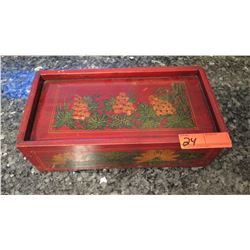 """Painted Red Wooden Box with Sliding Lid 14"""" X 7"""" X4.5"""" H"""
