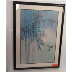 "Framed David Lee Watercolor Print, Signed, Bamboo & Bird 37"" X 28 (no damage)"