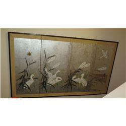4-Panel Signed Japanese Panel Crane Paintings (Has Damage, Holes) 4'4 X 2'7