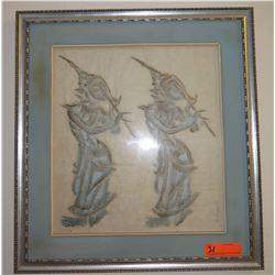 "Framed Thai Art - Flutists, Pastel/Chalk?, 23"" x 25"""