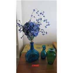 """Qty 3 Glass Vases, Blue/Green, Various Sizes (tallest is 10.5"""" H)"""