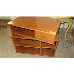 "Modular Teak Wood Shelving Units w/Drawer, Two Pieces 31""X18""DX26""H"