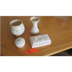 2 Small Porcelain Vases, 2 Trinket Boxes (Beeleek, etc.)
