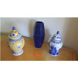 "2 Ceramic Ginger Jars (13""H & 12.5""H), Blue Glass Vase 15"" H"