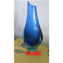 "Blue Handblown Glass Vase, Approx 10"""