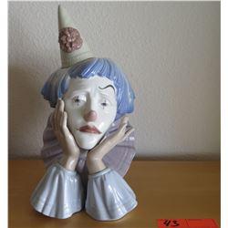 "Lladro Porcelain Clown Bust 12"" H"