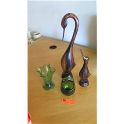 2 Carved Wooden Birds, Green Handblown Glass Basket, Green Glass Vase