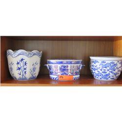 """3 Glazed  Pots, 5"""" H & 7"""" H"""