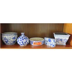 5 Glazed Blue & White Ceramic Pots, Planters, Bowls, Vase. etc.