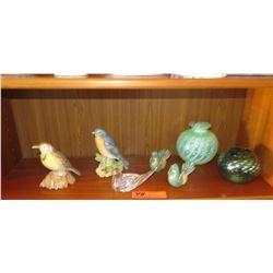 "2 Ceramic Birds, 3 Glass Bird Figurines, 1 Irridescent Glass Vase (5.5"" H)"