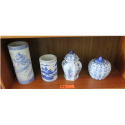 """3 Glazed Blue and White Ceramic/Porcelain Vases & Lidded Jar (tallest 9.5"""")"""