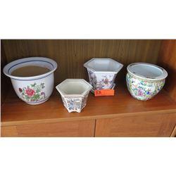 "Qty 4 Assorted Floral Motif Ceramic Planters/Pots - Tallest is 6"""