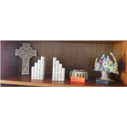Book Ends, Small Clay Pot, Cross/Ankh? (5 pc)