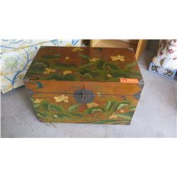 "Painted Wooden Trunk lined with Japanese Writing 23.5""W X 13.5""D X 16.5""H"