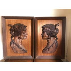 Carved Wall Art, Bas Relief Carving, Primitive Man & Woman 24x34