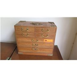 "Japanese 7-Drawer Jewelry Chest with Lined Drawers 15"" X 7.5"" X 13""H"