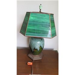 "Green Stained Glass Table Lamp w/ Green Raku-Style Ceramic Base, 19"" H"