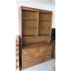 "Large Wooden Shelving Unit w/ Bottom Drawers, 78""x47""x12"""