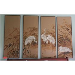 "4-Panel Artwork with Cranes, Each Panel 17""x47"""