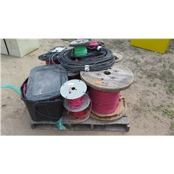 Entire Pallet of Spools of Misc. Coated Wire Cables